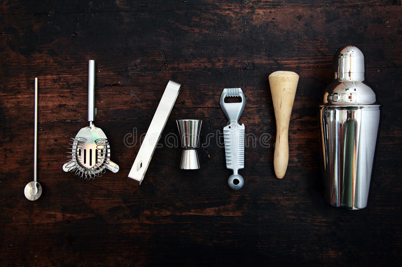 Set of bar or pub accessories stock photography