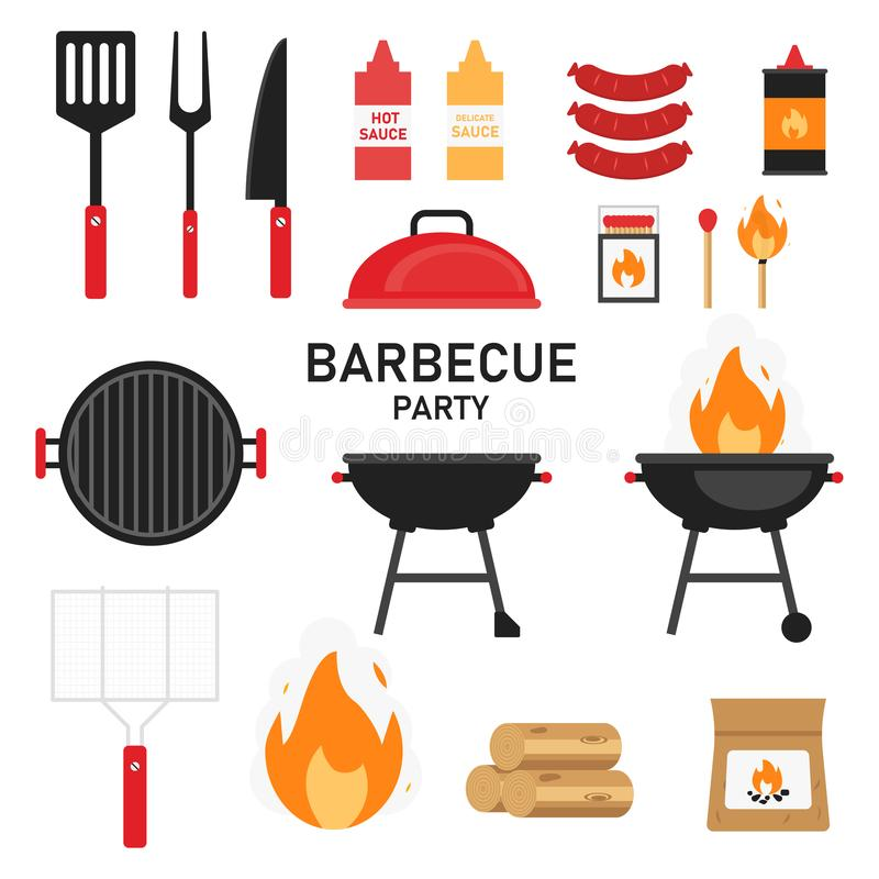 Set of barbecue or grill elements. Summer picnic isolated icon. Grilled meet on fire. Cook on nature vector illustration