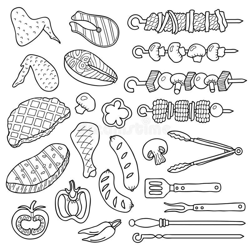 A set of barbecue items. royalty free illustration