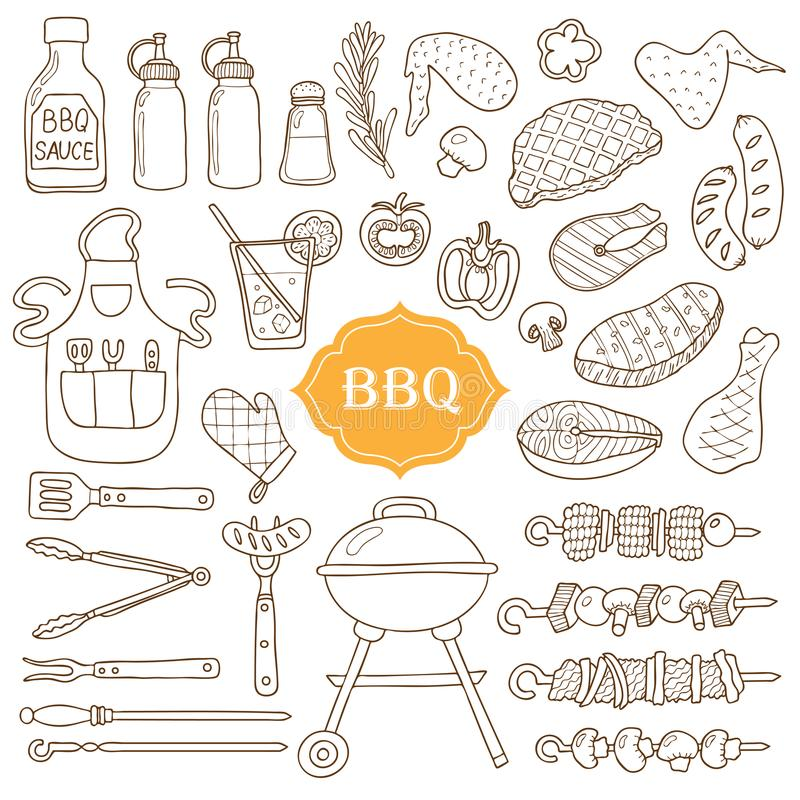 A set of barbecue items. stock illustration