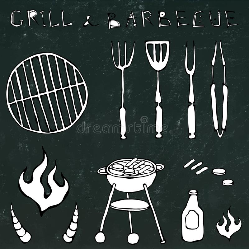 Set of Barbecue Tools: BBQ Fork, Tongs, Grill with Meat, Fire, Ketchup, Bull Horns. on a Black Chalkboard. Set of Barbecue Tools: BBQ Fork, Tongs, Grill with vector illustration