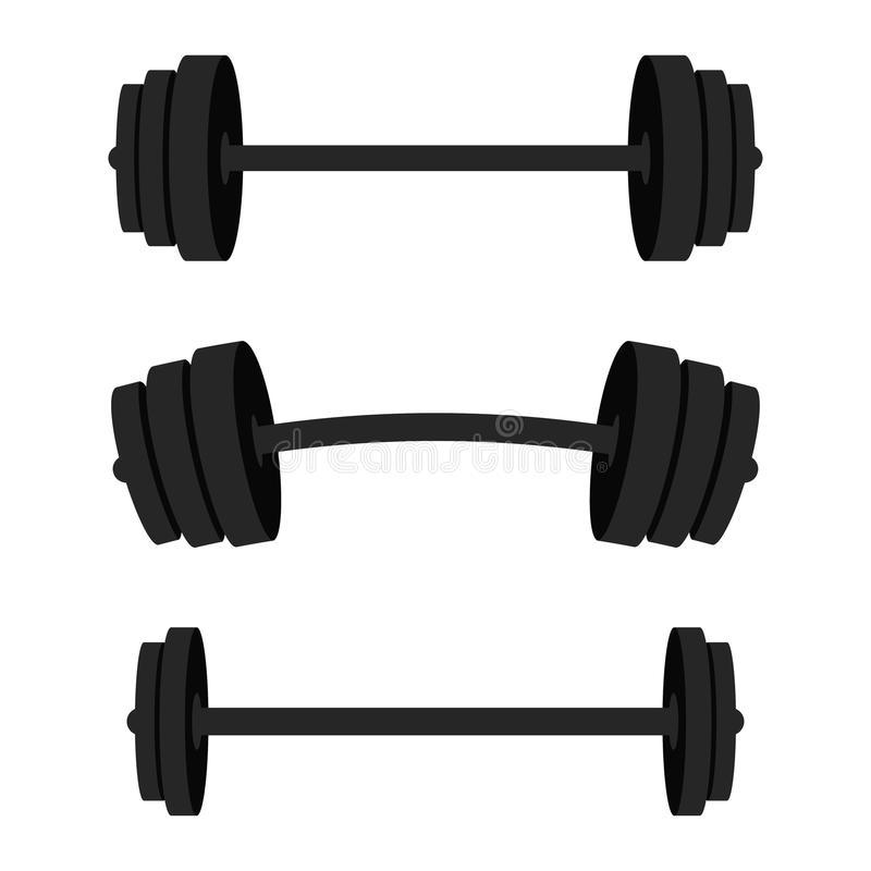 Set of barbells. Black barbells for gym, fitness and athletic centre. Weightlifting and bodybuilding equipment vector illustration