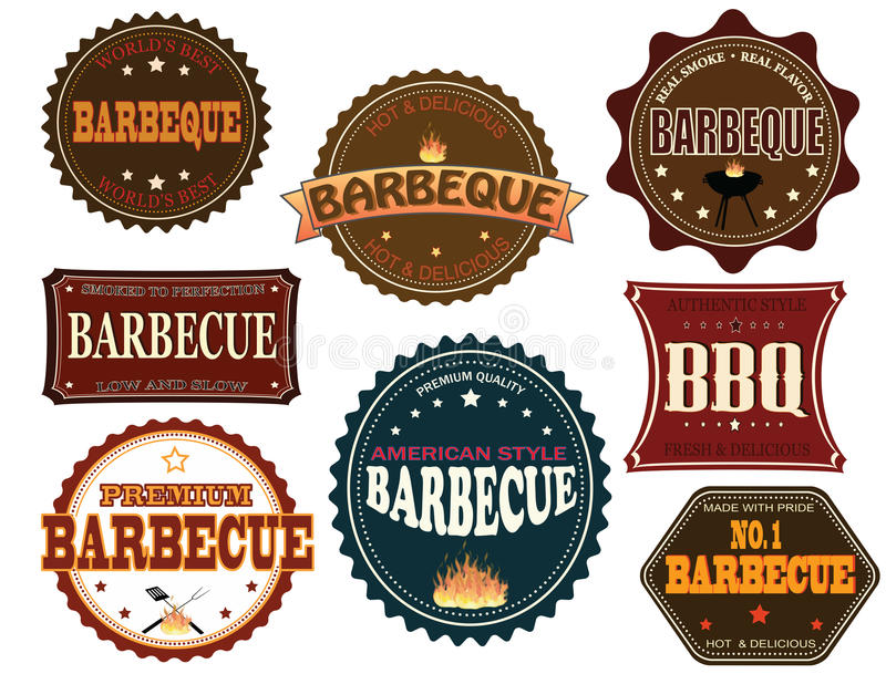 Set of barbeque labels stock illustration