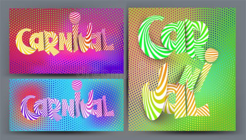 Set bardzo jaskrawe barwione karty z promieniowym halftone skutka tłem i holograficznymi colours ilustracja wektor