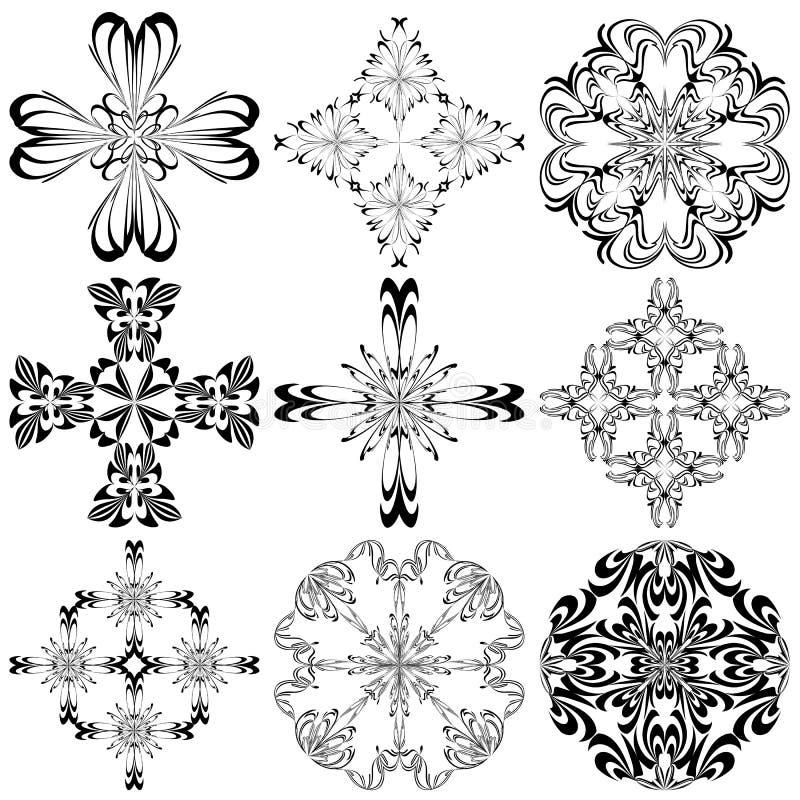 Set Barokowi krzyże ilustracja wektor
