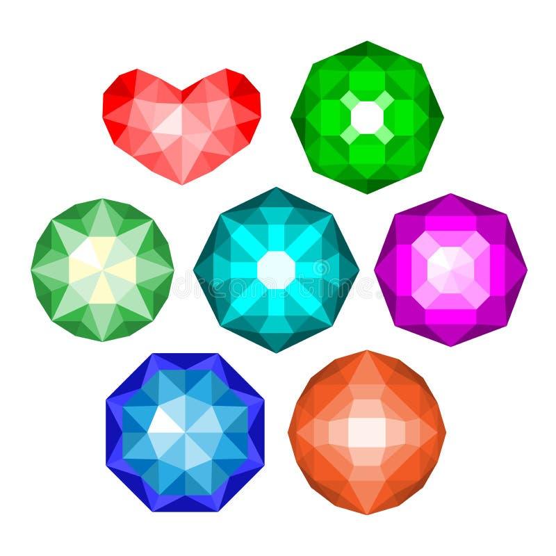 Set barwiący klasycznego round brylanta rżnięci klejnoty royalty ilustracja
