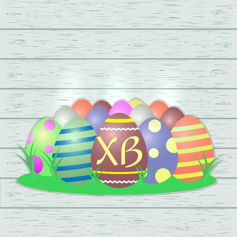 Set barwiący Wielkanocni jajka, centrala z listami XB na drewnianym tekstury tle, ilustracji