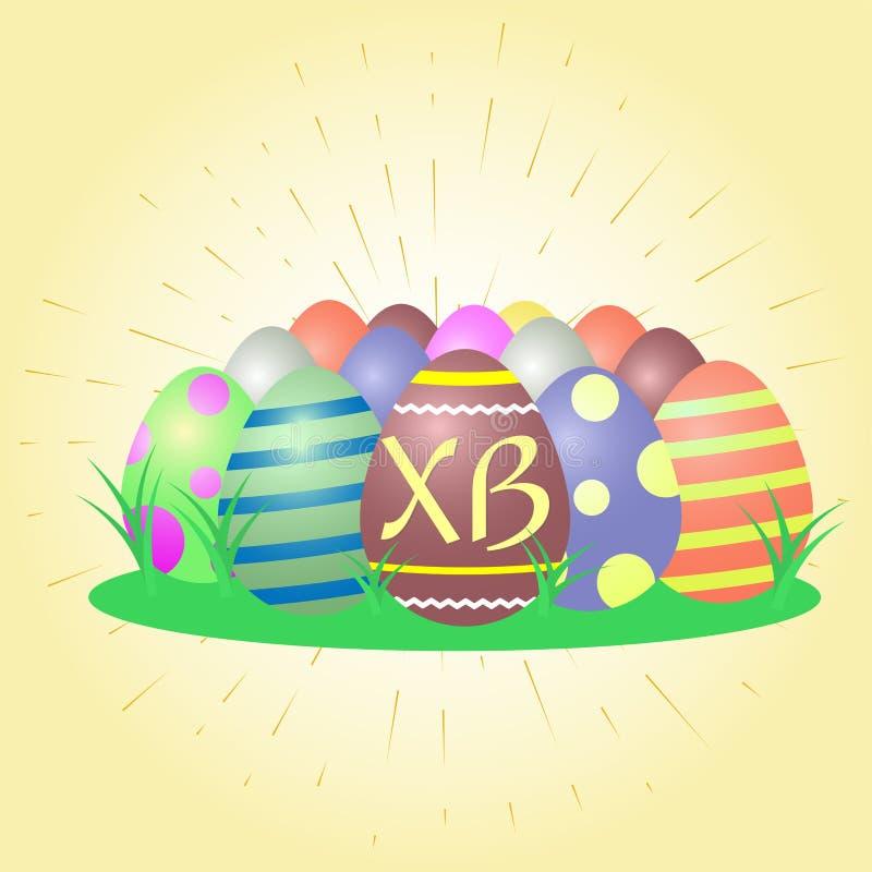 Set barwiący Wielkanocni jajka, centrala z listami XB przeciw tłu złoci promienie i trawa, ilustracji