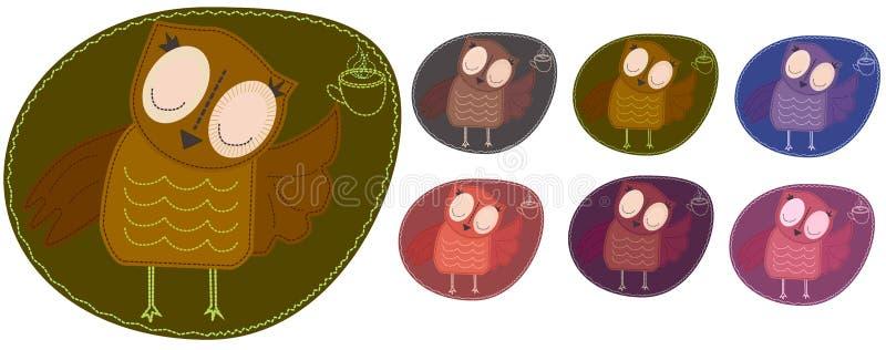 Set barwić sowy które trzymają filiżankę gorąca kawa Imitacja lampas, appliqué, tkanina i zaszywanie, szew royalty ilustracja