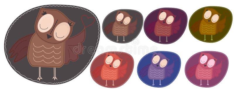 Set barwić sowy które trzymają serce Imitacja lampas, appliqué, tkanina i zaszywanie, szew ilustracja wektor