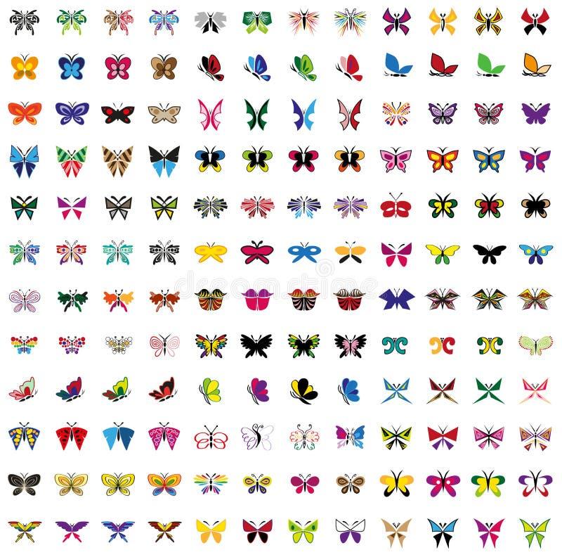 Set barwione ikony motylie royalty ilustracja