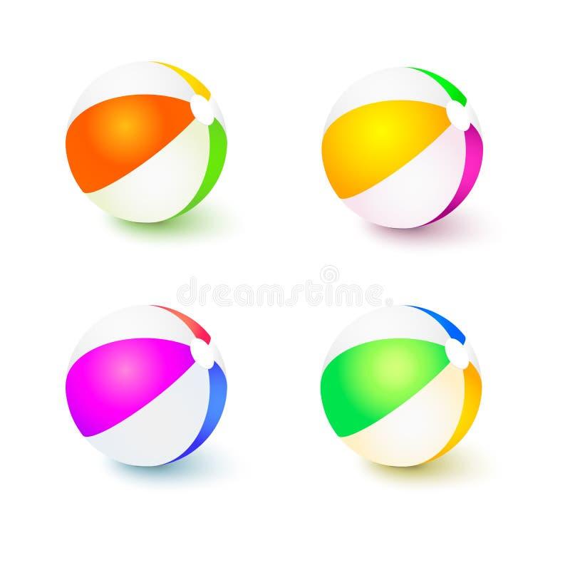 Set barwione nadmuchiwane plażowe piłki Realistyczne colour piłki z odbiciami i cienie odizolowywający na bielu ilustracja wektor