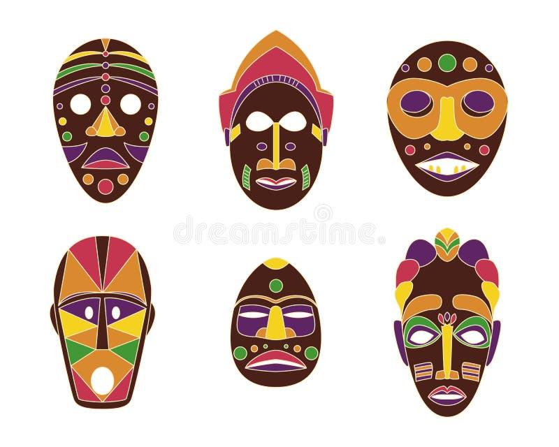 Set barwione płaskie plemienne afrykanin maski na białym tle ilustracji