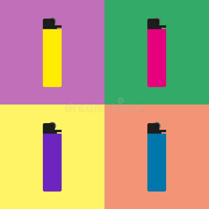 Set barwione zapalniczki Płaska wektorowa ilustracja ilustracja wektor