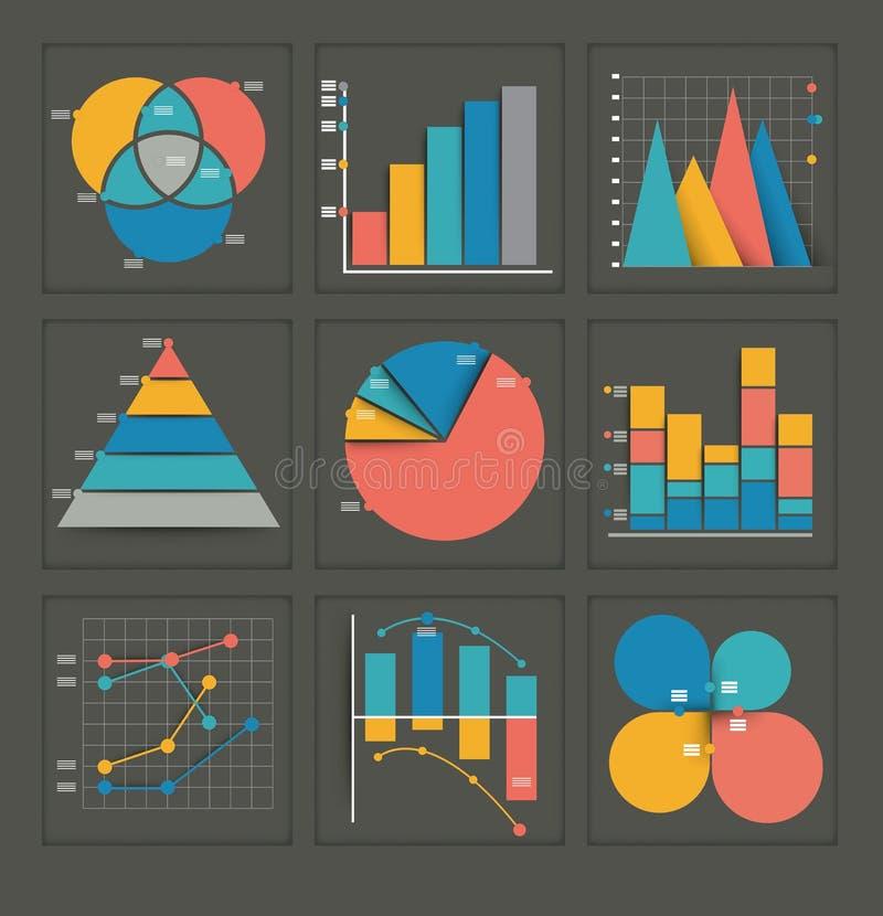 Set barwioni biznesowi wykresy ilustracji