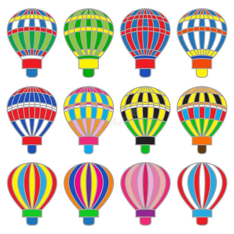 Set barwioni gorący baloons royalty ilustracja