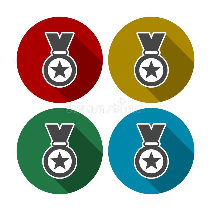 Set barwioni ikona medale również zwrócić corel ilustracji wektora ilustracja wektor