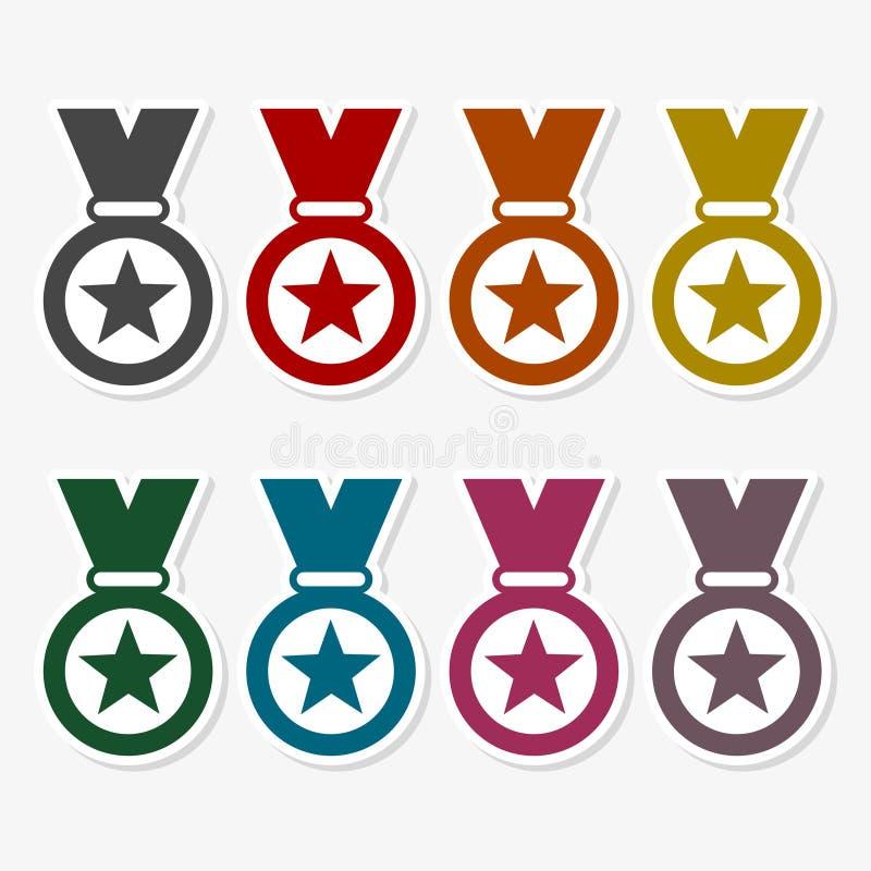 Set barwioni ikona medale również zwrócić corel ilustracji wektora ilustracji