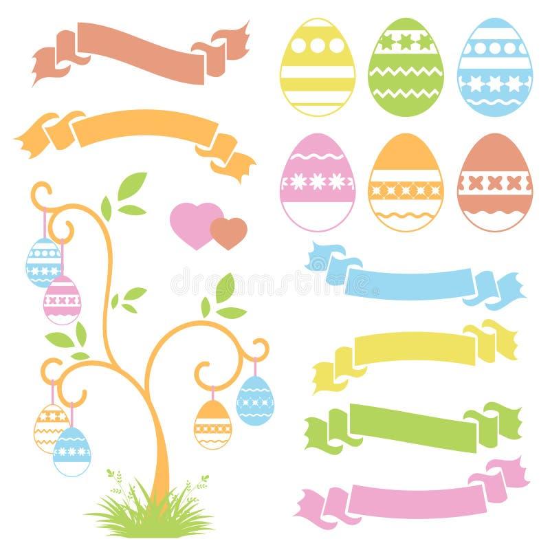 Set barwioni odosobneni słodcy Wielkanocni jajka i tasiemkowi sztandary na białym tle Abstrakcjonistyczny świąteczny drzewo Prost royalty ilustracja