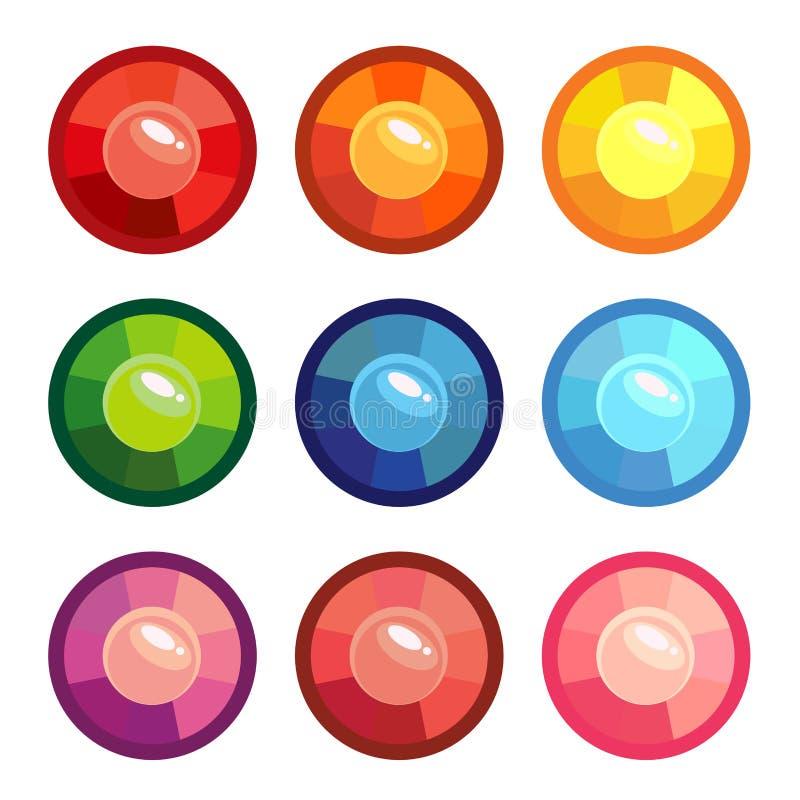 Set barwioni round klejnoty royalty ilustracja