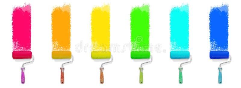 Set barwiony farba rolownik - kolorowy odświeżania pojęcie obraz royalty free