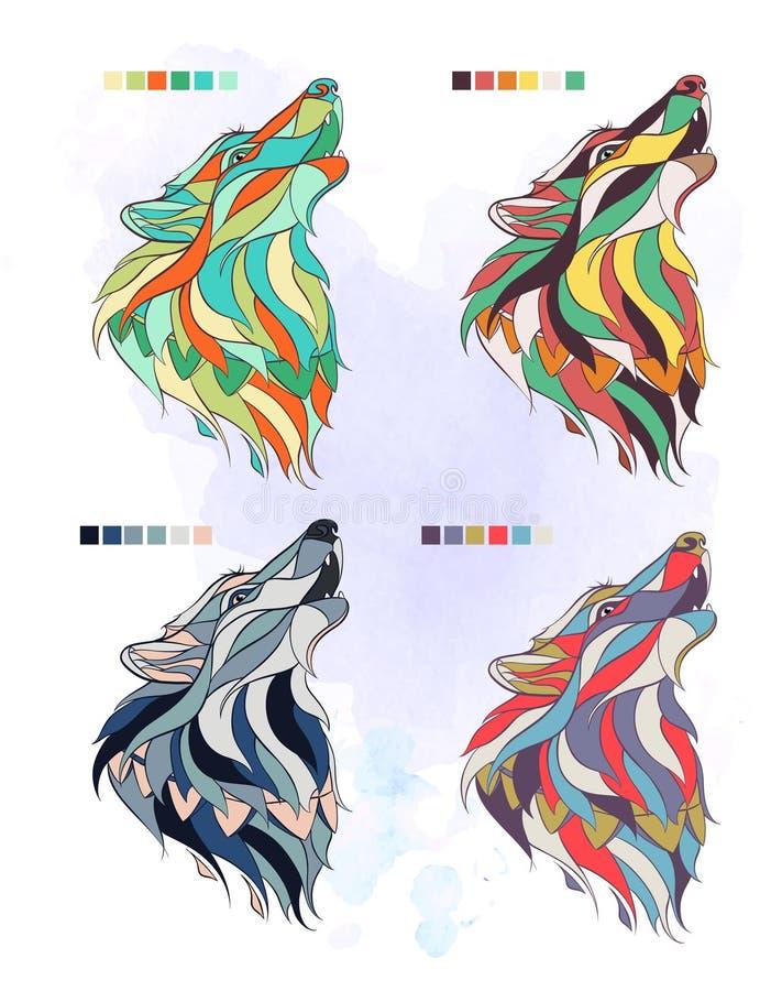 Set barwiony wolfs ilustracji