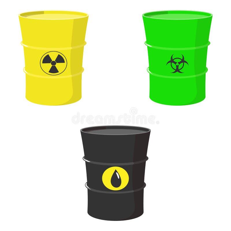 Set baryłki olej, substancja toksyczna i odpad nuklearny, royalty ilustracja