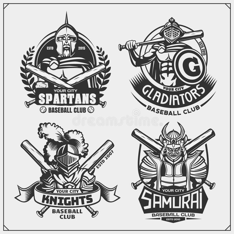 Set of baseball badges, labels and design elements. Sport club emblems with ancient warriors. Print design for t-shirt. Vector royalty free illustration