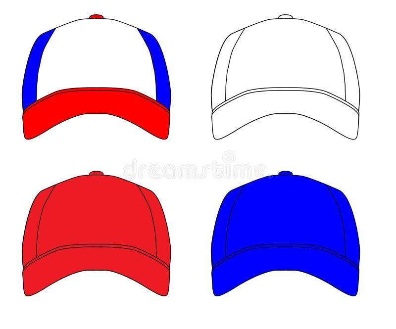 Set Of 4 Baseball Caps royalty free illustration