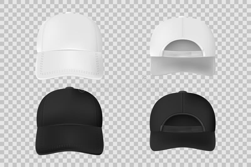 Set baseball nakrętki czarny i biały mockup Realistyczny nakrętka szablonu przód i plecy rywalizujemy odosobnionego na przejrzyst ilustracji