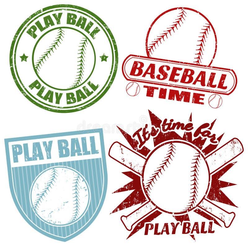 Set of baseball stamps vector illustration