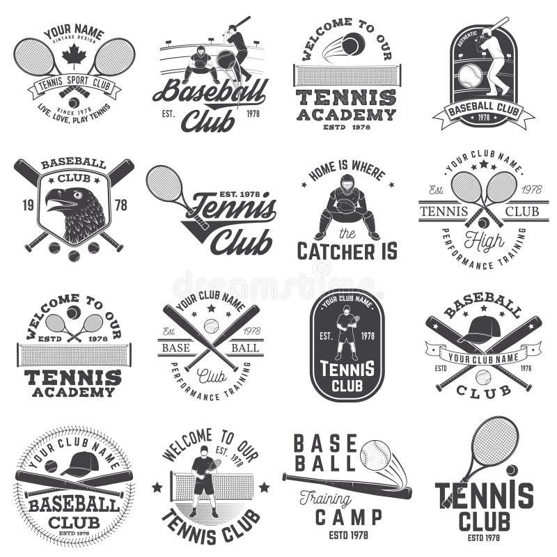 Set baseballa i tenisowego klubu odznaka również zwrócić corel ilustracji wektora Pojęcie dla koszula, logo, druk, znaczek lub tr ilustracji