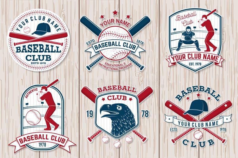 Set baseballa lub softballa świetlicowa odznaka również zwrócić corel ilustracji wektora Pojęcie dla koszula lub loga, ilustracji