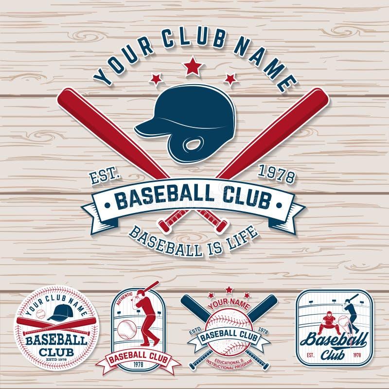 Set baseballa lub softballa świetlicowa odznaka wektor Pojęcie dla koszula lub logo, druk, łata, znaczek Rocznik typografia ilustracja wektor