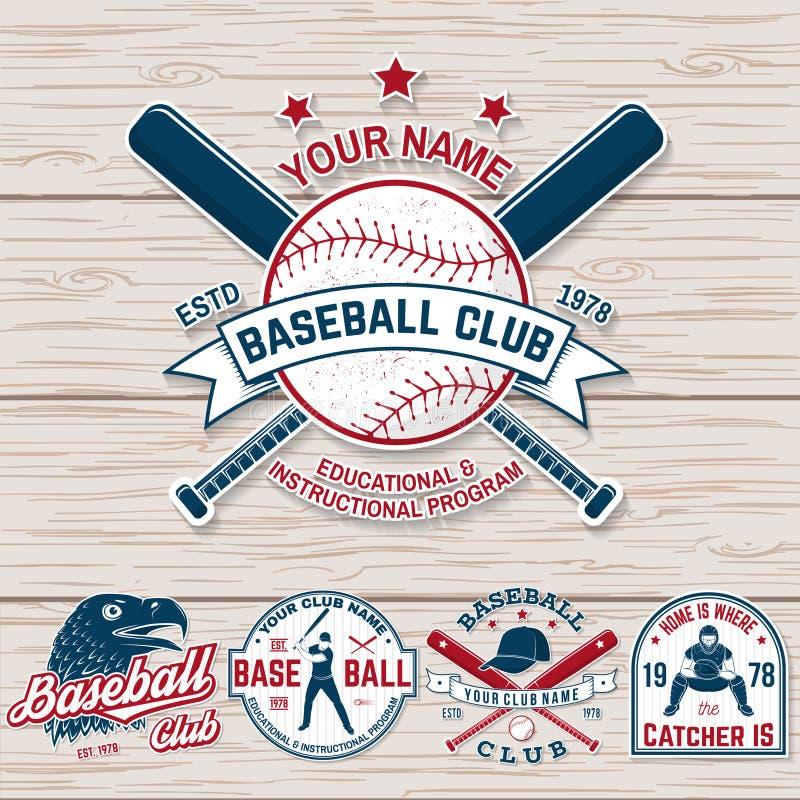 Set baseballa lub softballa świetlicowa odznaka wektor Pojęcie dla koszula lub logo, druk, łata, znaczek Rocznik typografia royalty ilustracja