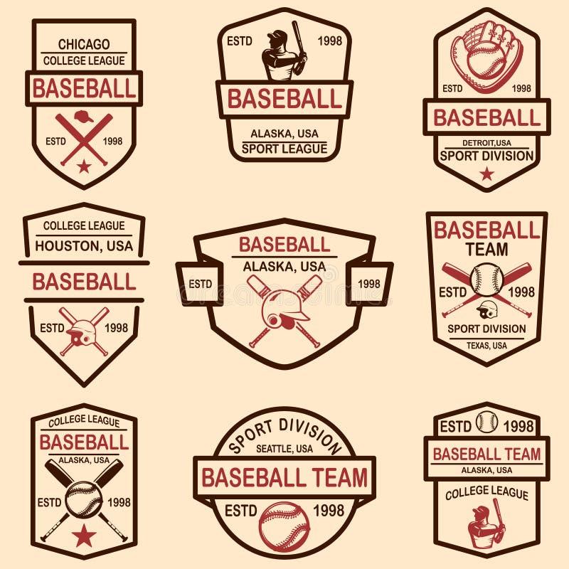 Set baseballi emblematy Projektuje element dla loga, przylepia etykietk?, podpisuje, plakat, t koszula ilustracja wektor