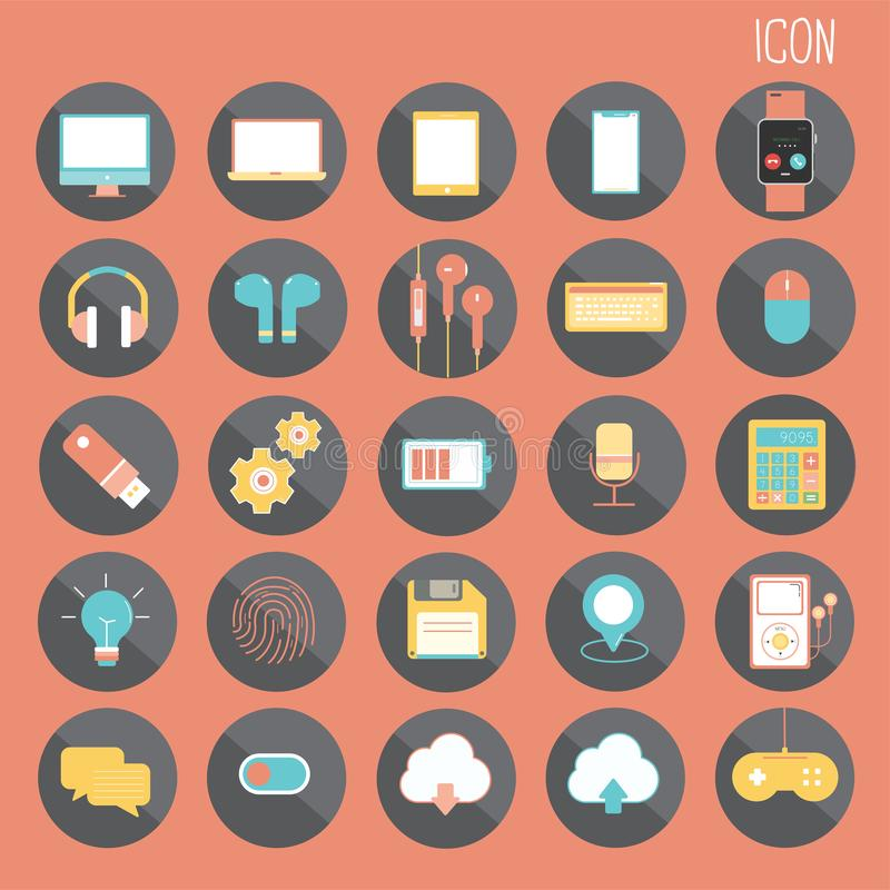 25 set Basic Flat design, social media and smartphone, Web and Mobile Application, Other abstract. Isolated on Orange background, part 1 - vector icons vector illustration