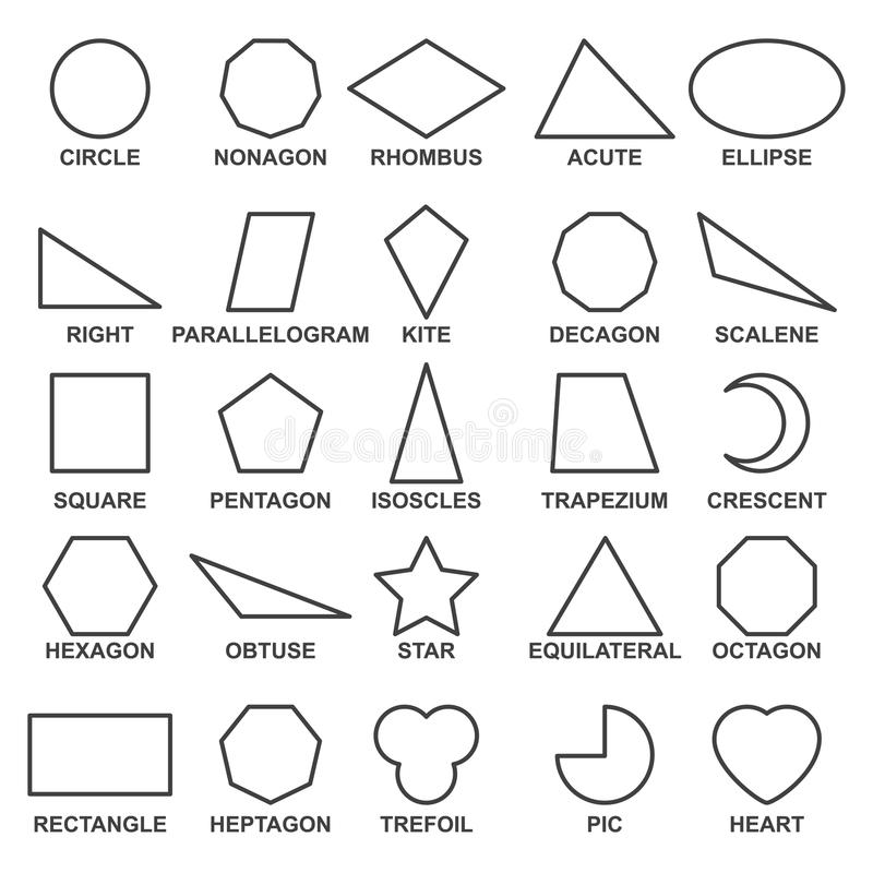 Set of basic geometric shapes . Advance mathematical concepts for algebra and geometry. Representation of a square, rectangle and triangle. Vector line shapes royalty free illustration