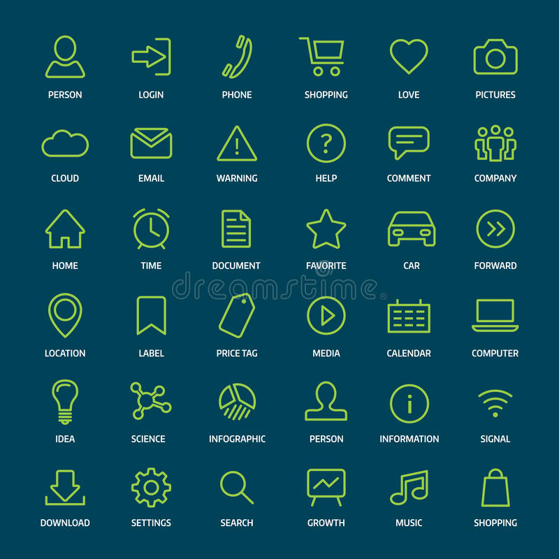 set of basic green outline icons for print or web stock vector illustration of email graphic. Black Bedroom Furniture Sets. Home Design Ideas