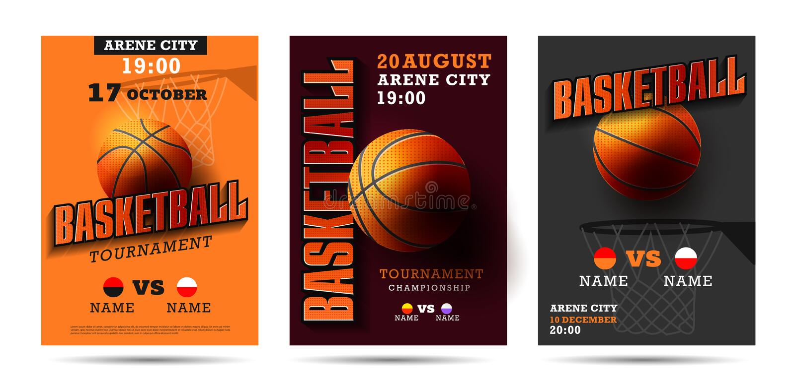 Set of basketball posters with basketball ball. Basketball Playoff advertising. Sport event announcement. Place your text and emblems of participants. Vector vector illustration
