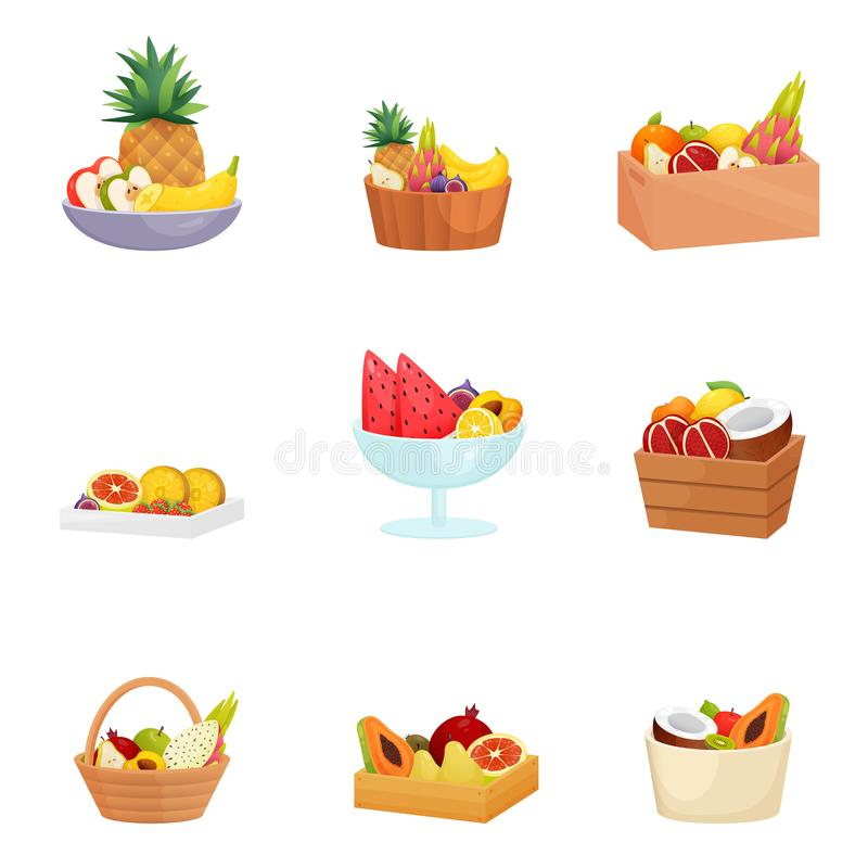 Set of baskets, bowls, dishes, vases with different fruits over white background. Sliced and whole apples, bananas, papaya, pitahaya, peaches, watermelons and stock illustration