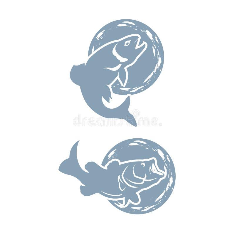 Set of bass fish icons isolated on white background. Design elements for logo, label, emblem, sign, brand mark royalty free illustration
