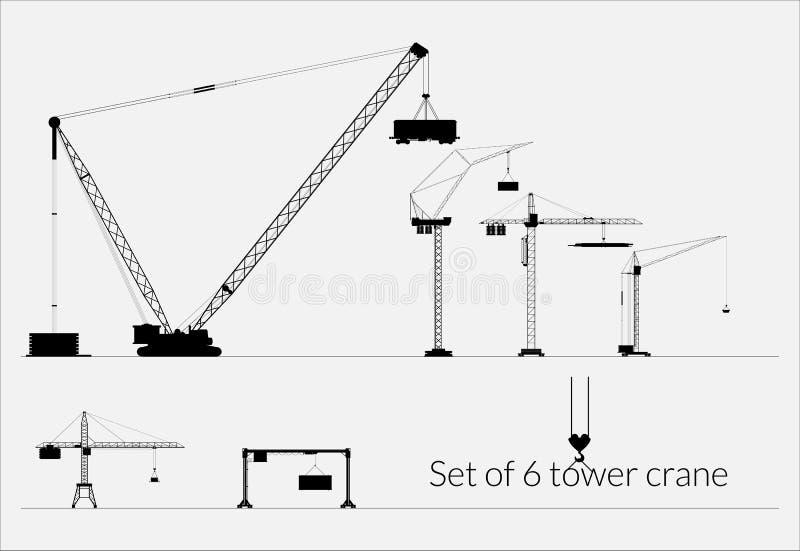 Set basztowi żurawie dla przemysłowego use ilustracja wektor