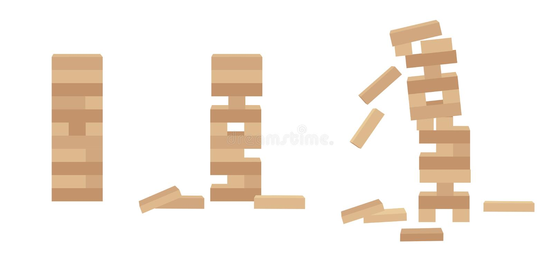 Set basztowy gemowy jenga Drewniana blokowa gra ilustracji