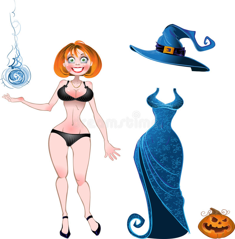 Set of batch witch with evening dress and pumpkin royalty free stock image
