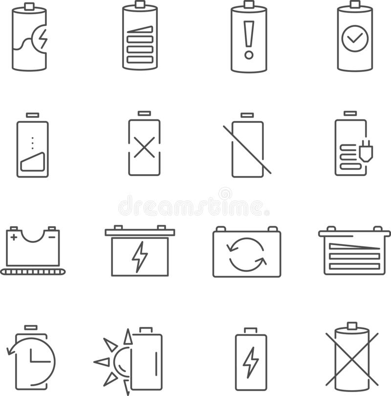 Set baterii linii wektoru ikony royalty ilustracja