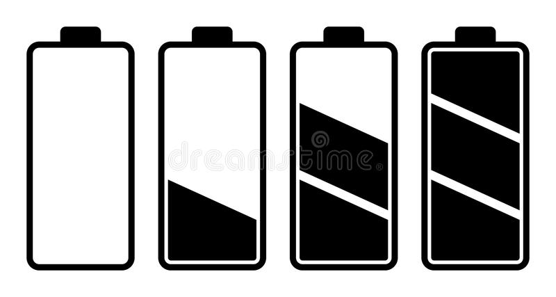 Set bateryjnego ładunku równy wskaźnik royalty ilustracja
