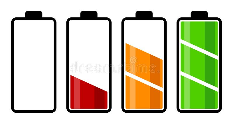 Set bateryjnego ładunku równy wskaźnik ilustracja wektor