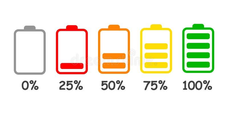 Set bateryjnego ładunku równy wskaźnik w procencie - wektor ilustracja wektor