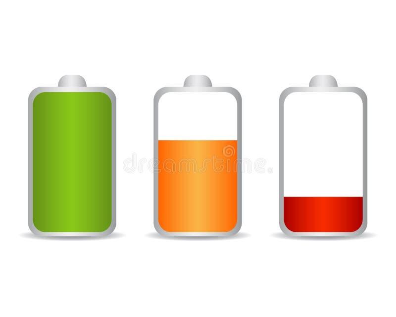 Set bateryjnego ładunku równy wskaźnik - wektor ilustracja wektor